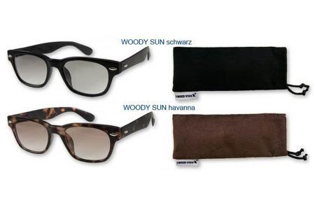 Woody Sonnen-Lesebrille, Neu in 4 Farben im Wayfarer-Style