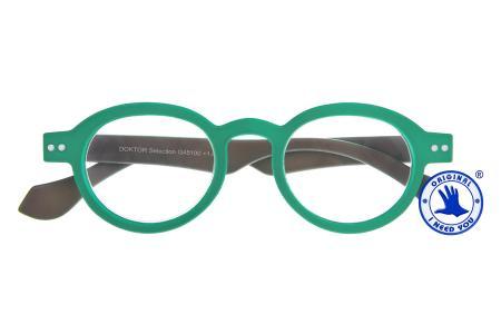 Doktor Lesebrille Selection Grün/Grau, zweifarbig im intelektuellen Nerd-Style