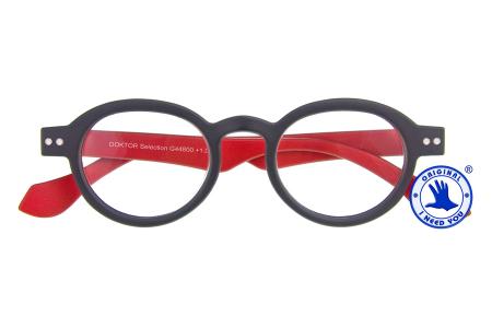 Doktor Lesebrille Selection Anthrazit/Rot, zweifarbig im intelektuellen Nerd-Style