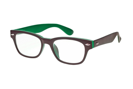 Woody Selection Lesebrille zweifarbig in braun-grün im Wayfarer-Style