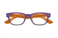 Woody Selection Lesebrille zweifarbig in lila-orange im Wayfarer-Style